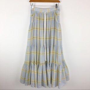 Free People Full Prairie Plaid boho Maxi skirt XS